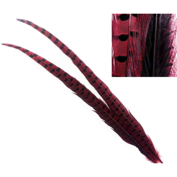 Hareline Dubbin Ringneck Pheasant Tail Feathers Red