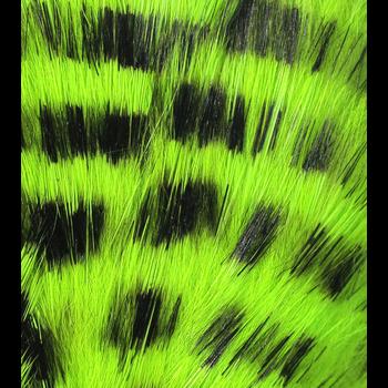 Hareline Dubbin Black Magnum Rabbit Strips Chartreuse