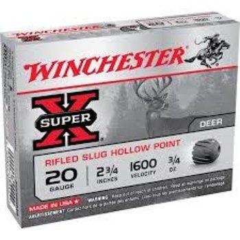 "Winchester Super-X Ammo, 20ga 2-3/4"" Slug 5rds"