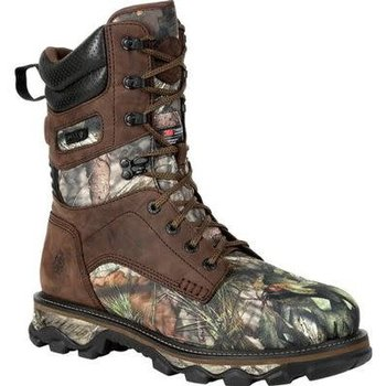 """Rocky Mountain Stalker Waterproof 1400g Insulated Outdoor 10"""" Boot, Brown and Mossy Oak BU Country, 9.5"""