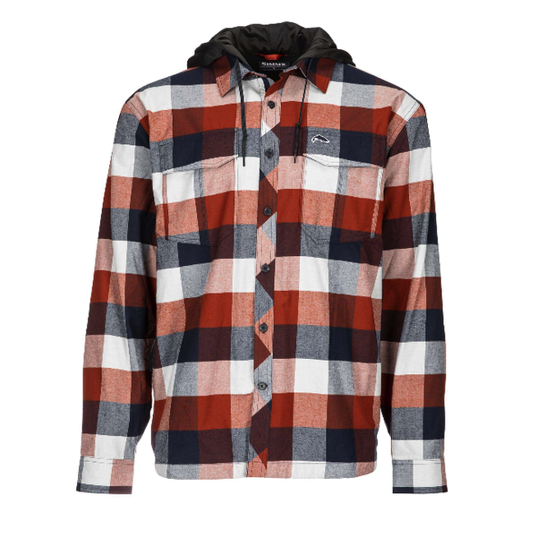 Simms M's ColdWeather Hoody Rusty Red Buffalo Plaid XL