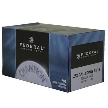 Federal Champion Ammo, 22LR 40gr Standard Velocity Lead Round Nose 500rds