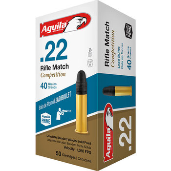 Aguila Rifle Match Competition Ammo, 22LR 40gr 1080fps Lead Solid Point 50rds