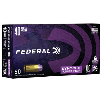Federal AE40SJ2 American Eagle Syntech Training Match, 40 S&W, 180 Grain, Total Synthetic Jacket, Training Match, 50 Rounds Per Box