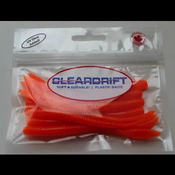 "Cleardrift Tackle Steelhead Worm 3.5"" Hot Orange 8-pk"