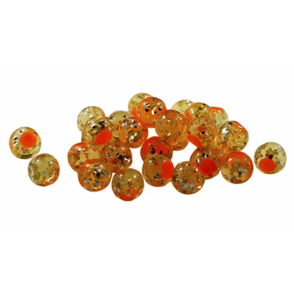 Cleardrift Tackle Glitter Bomb 8mm Natural Orange/Orange Dot 30-pk
