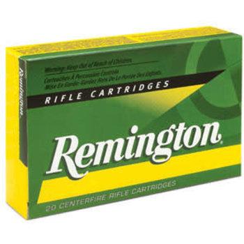 Remington Rifle Ammuntion R22501, 22-250 Remington, Pointed Soft Point (SP), 55 GR, 3680 fps, 20 Rd/bx