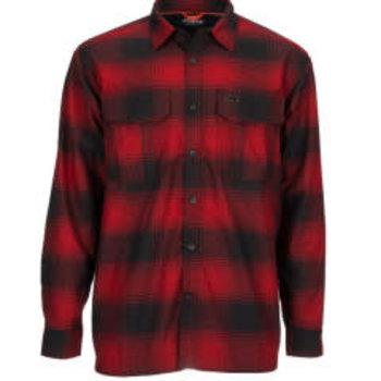 Simms M's ColdWeather LS Shirt Auburn Red Buffalo Blur Plaid L