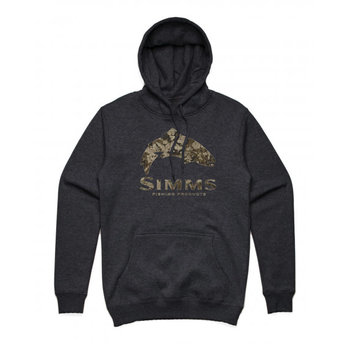 Simms M's Trout Riparian Camo Hoody Charcoal Heather L