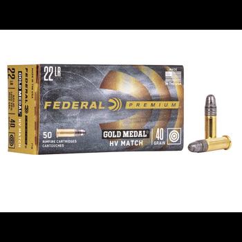 Federal Premium Gold Medal Ammo, 22LR 40gr HV Match 1200fps 50rds
