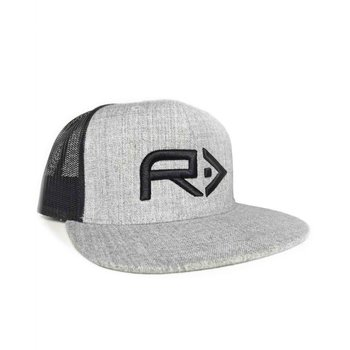 RahFish Big R 3D Puff Cap, Heather Grey/Black Mesh