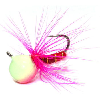 Custom Jigs&Spins JaJe Bug Tungsten Ice Fly Pink Glow 5/64oz