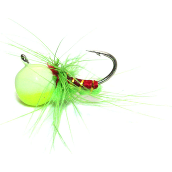 Custom Jigs&Spins JaJe Bug Tungsten Ice Fly Chartreuse Glow 5/64oz