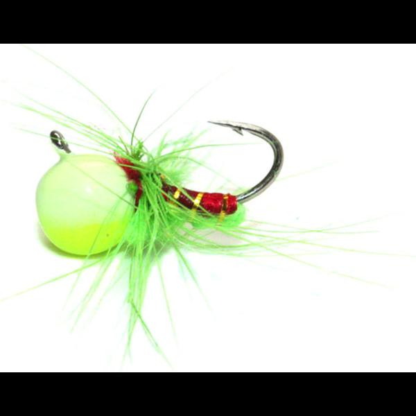 Custom Jigs&Spins JaJe Bug Tungsten Ice Fly Chartreuse Glow 5/64oz