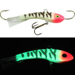 Moonshine Lures Fat Bottom Shiver Minnow #2 Glow Bloody Nose