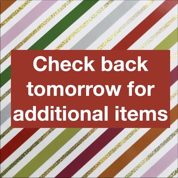 Check Back Tomorrow For Additional Items