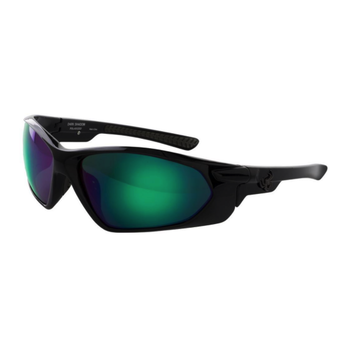 SpiderWire Dark Shadow Polarized Glasses. Gloss Black/Smoke/Green Mirror SSGDSGBL-SGM