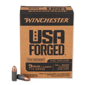 Winchester USA Forged 9mm Luger Ammunition 50 Rounds Steel Case FMJ 115 Grains Projectile 1190 fps