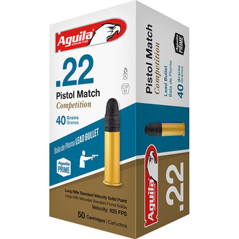 Aguila Pistol Match Competition Ammo, 22LR 40gr 925fps Lead Solid Point 50rds