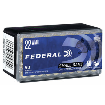 Federal Game-Shok Ammo, 22 WMR 50gr 1530 fps Jacked Hollow Point 50rds