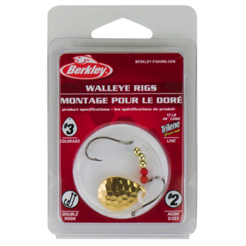 Berkley Walleye Rig Colorado #3 Single Rig #2 Hook Hammered Gold