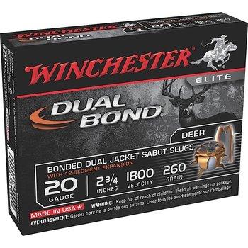 "Winchester Dual Bond Ammo, 20ga 2-3/4"" 260gr Jacketed Hollow Point Sabot Slug 5rds"