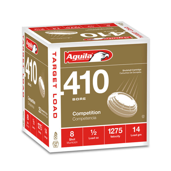 """Aguila Target Load Ammo, 410ga 14gr 2-1/2"""" 1/2oz #8 Shot 1275fps 25rds"""