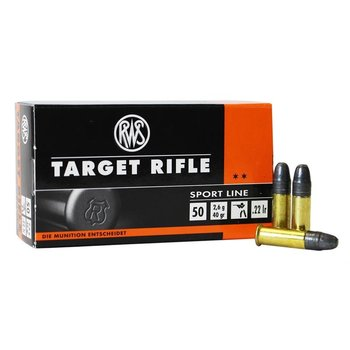RWS Target Rifle 22 LR 40 Grain Lead Round Nose Ammo Box Of 50