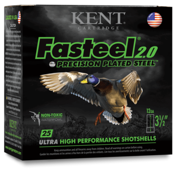 "Kent Fasteel 2.0 Precision Plated Steel Waterfowl Ammo, 20ga 3"" 7/8oz #4 Shot 1550fps 25rds"