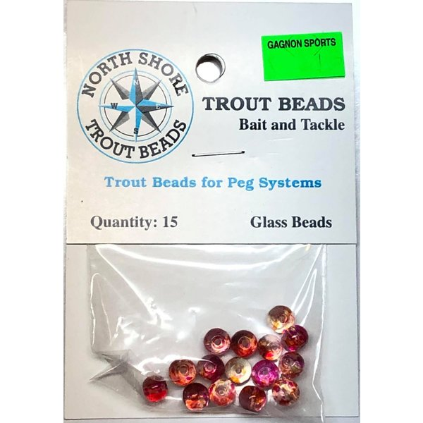North Shore Tackle Glass Beads 6mm Glass Transparent Blood Vain