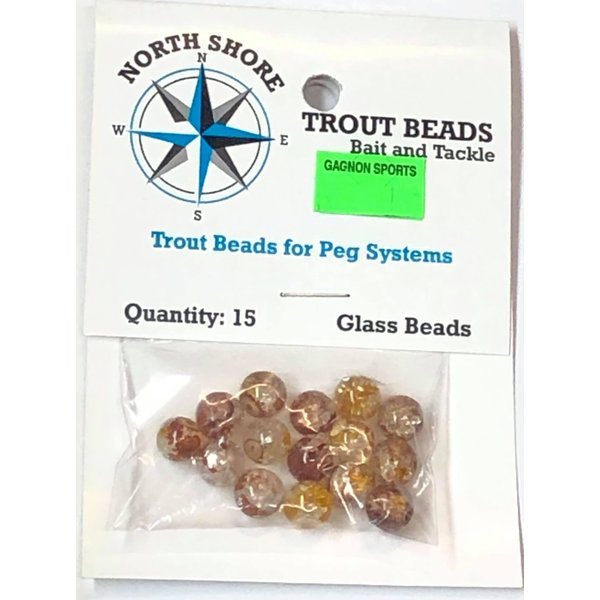 North Shore Tackle Glass Beads 8mm Glass RootBeer Crackle