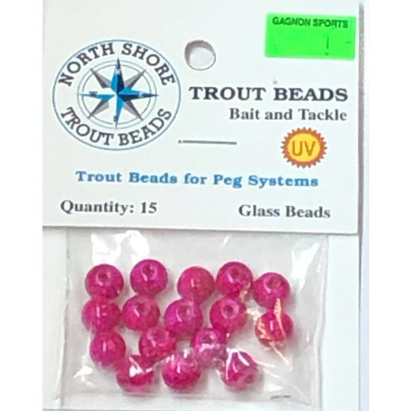 North Shore Tackle Glass Beads 8mm Glass PurplePink Swirl