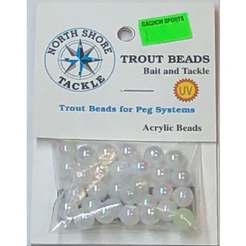 North Shore Tackle Acrylic Beads 8mm Pearl White