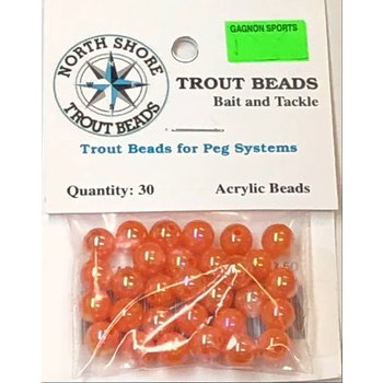 North Shore Tackle Acrylic Beads 8mm Pearl Orange