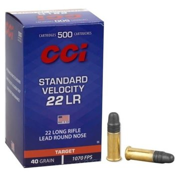 CCI 22 Long Rifle Standard Velocity Lead Round Nose 40gr 1070fps Per 500