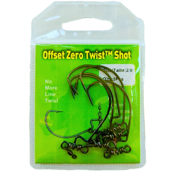 Stringease Offset Zero Twist Shot 2/0 Hook. 5-pk