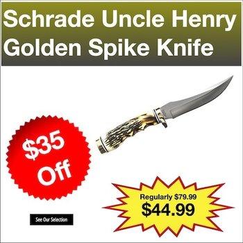 "Schrade Uncle Henry Golden Spike Fixed 5"" Blade Knife"