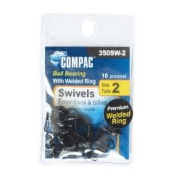 Compac Ball Bearing Swivel w/Interlock Snap Size 2 10-pk Black