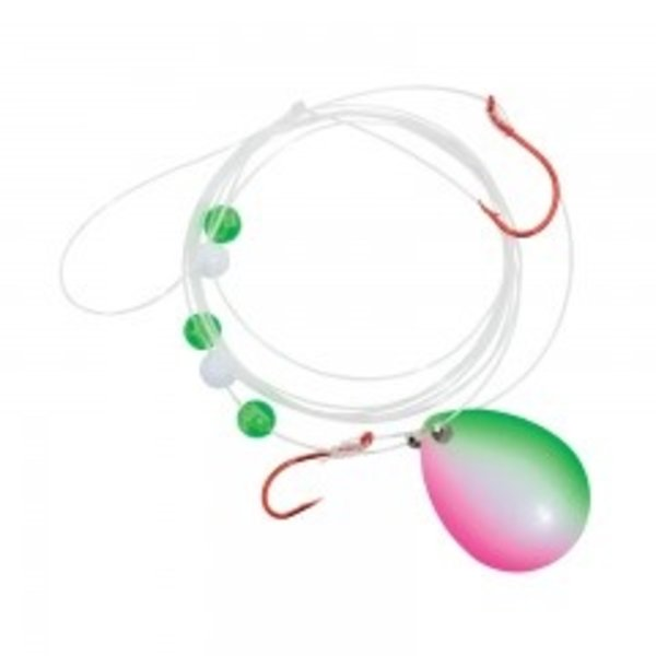 Compac Jaws Worm Harness. 15lb WB Glow/Dots