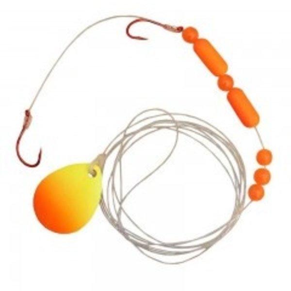 Compac Jaws Floating Worm Harness. 15lb Chartreuse Orange Stripes Black Dots
