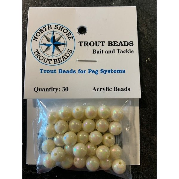 North Shore Tackle Acrylic Beads 8mm Pearl Cream