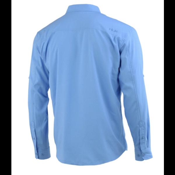 Huk Tide Point Woven Solid Long Sleeve. M Carolina Blue