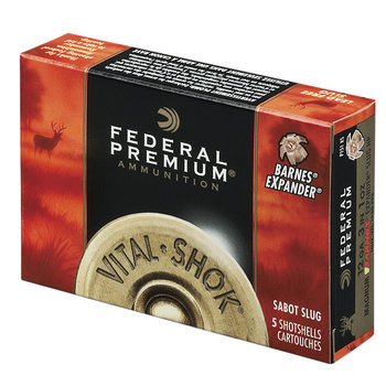 "Federal Premium Vital-Shok Ammo 20ga 3"" Trophy Copper Sabot Slug 275gr Tipped 5 Rounds"