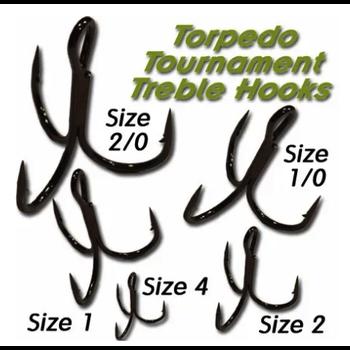 Torpedo Tournament Treble Hooks. Size 1 10-pk