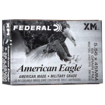 Federal XM193X American Eagle Rifle Ammo 5.56 NATO, FMJBT, 55Gr, 3240 fps, 20 Rnds