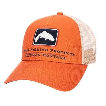 Simms Trout Icon Trucker Hat. Simms Orange
