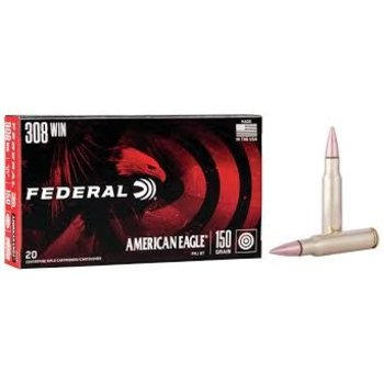 Federal American Eagle 308 Winchester 150 Grain Full Metal Jacket Boat Tail Box of 20