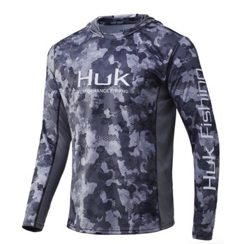 Huk Icon X KC Refraction Camo Hoodie. Storm M