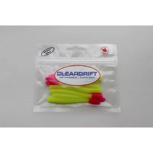 "Cleardrift Tackle Cleardrift Tackle Steelhead Worm 3.5"" Chartreuse/Hot Pink Tail 8-pk"