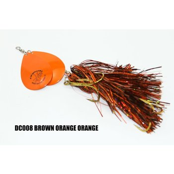Musky Mayhem Tackle Double CowGirl. Brown Orange Orange